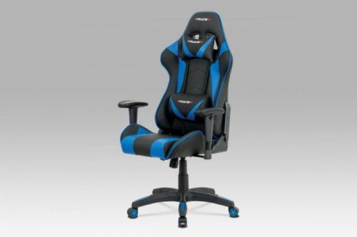 Kancelářská židle, modrá+černá ekokůže, houpací mech., plastový kříž KA-F03 BLUE Autronic