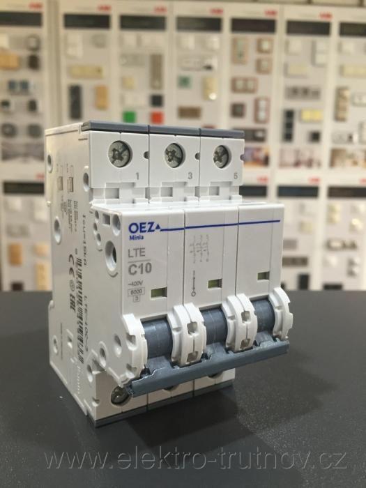 OEZ  LTE-10C-3 /41943/ instalační jistič 6 kA, charakteristika C, 10A, 3pól