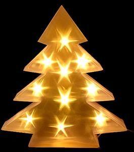 Vánoční dekorace stromek PVC, 10 LED, 45 x 8 cm - teplá bílá