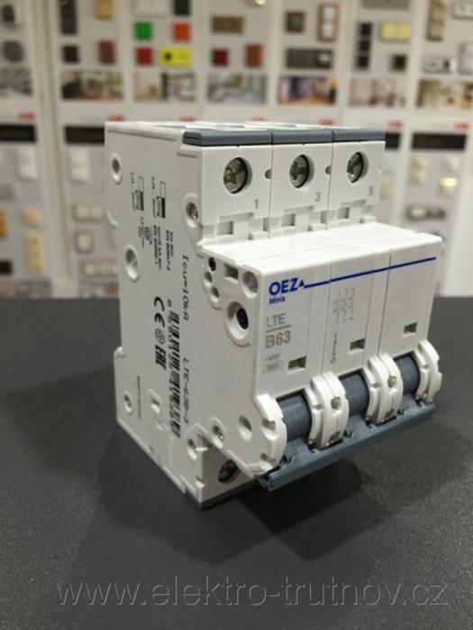 OEZ  LTE-63B-3 /41938/ instalační jistič 6 kA, charakteristika B, 63A, 3pól