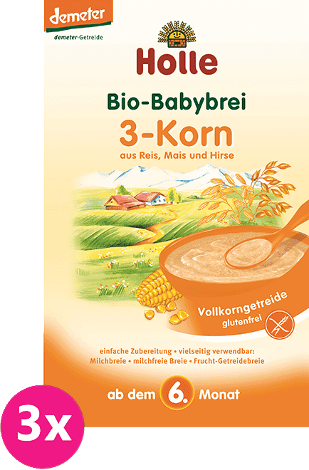 3x HOLLE Bio 3 druhy zrna kaše, 250 g