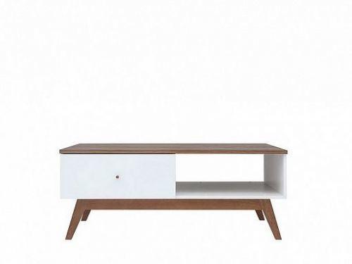 BRW Heda Konferenční stolek LAW1S, Bílá/modřín sibiu zlatý/bílý lesk