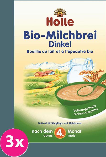 3x HOLLE Bio Špaldová mléčná kaše, 250 g