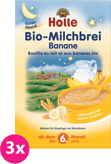 3x HOLLE Bio Banánová mléčná kaše, 250 g