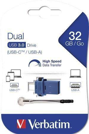 32GB USB Flash 3.0 + USB-C adaptér, VERBATIM