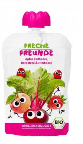 Freche Freunde BIO Kapsička jablko, červená řepa, jahoda a malina 100g
