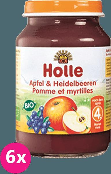 6x HOLLE Bio Jablko a borůvka - ovocný příkrm, 190 g