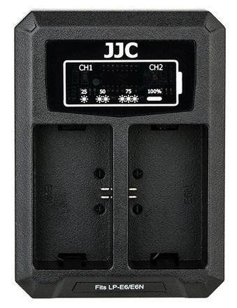 JJC duální USB nabíječka pro akumulátor 2× Canon LP-E6(N)