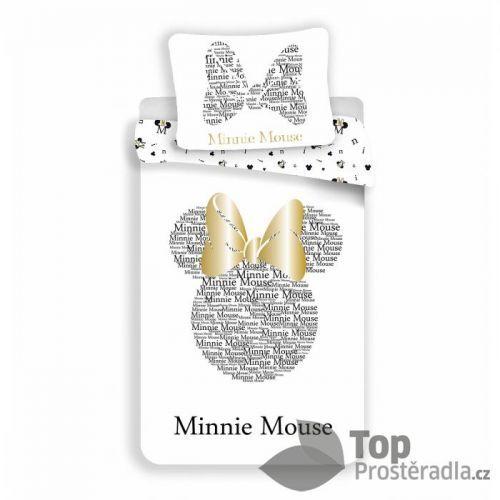 TOP Bavlněné povlečení Minnie GOLD 140x200+70x90 (třpytí se)
