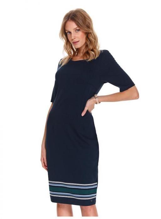 Midi šaty s kontrastní proužkou