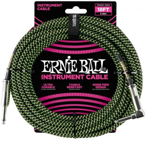 Ernie Ball 18' Braided Cable Black/Green