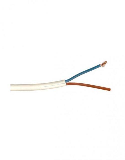 Kabel ohebný CYLY H03VVH2-F 2X0.5 B plochý bílý, barvy modrá-hnědá