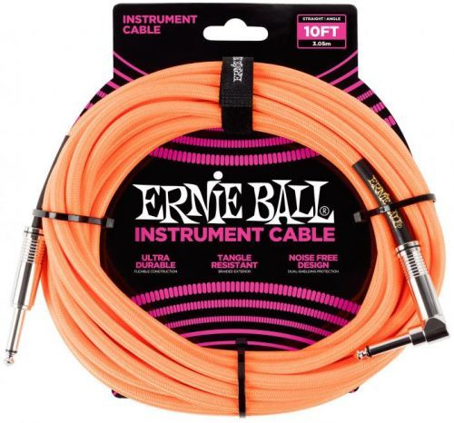Ernie Ball 10' Braided Cable Neon Orange