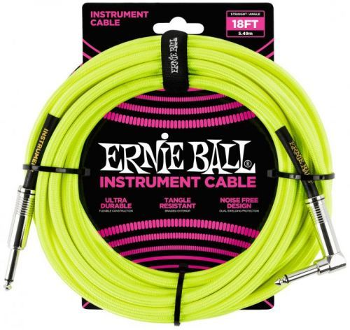 Ernie Ball 18' Braided Cable Neon Yellow