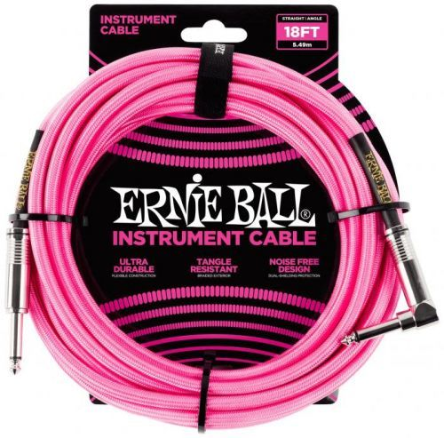 Ernie Ball 18' Braided Cable Neon Pink