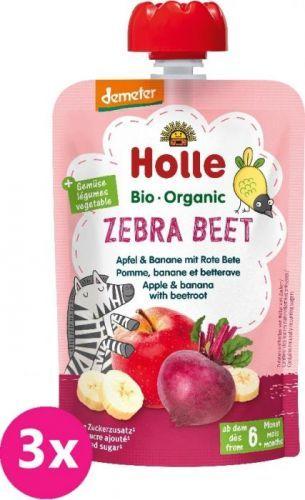 3x HOLLE Zebra Beet Bio ovocné pyré jablko, banán a červená řepa, 100 g (6m+)