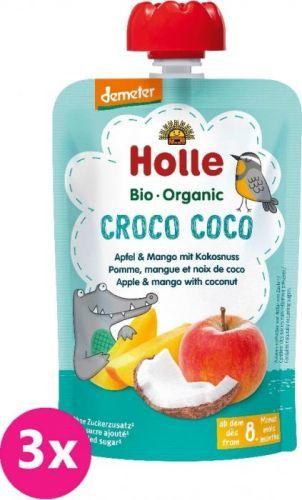 3x HOLLE Croco Coco Bio ovocné pyré jablko, mango, kokos, 100 g (8m+)