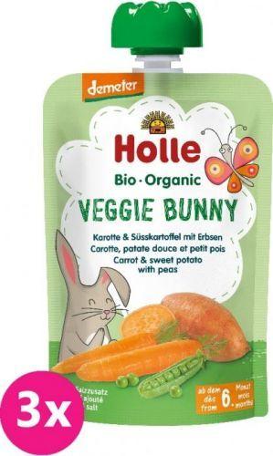 3x HOLLE Veggie Bunny Bio pyré mrkev, batáty a hrášek, 100 g (6m+)
