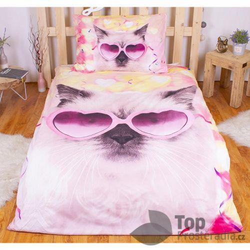 TOP 3D povlečení 140x200 70x90 Crazy cat