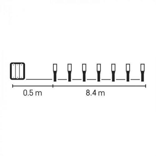 120 LED řetěz, 3×AA, IP44, 8,4m, teplá bílá, časovač Teplá bílá