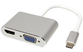 Roline Adaptér USB 3.1 (USB C) -> HDMI A(F) + VGA(F), 4K2K@30Hz, Alu
