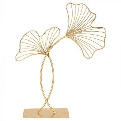 Dekorace ve zlaté barvě Mauro Ferretti Leaf Glam, výška44cm