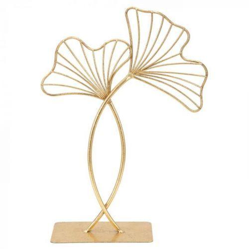 Dekorace ve zlaté barvě Mauro Ferretti Leaf Glam, výška35cm