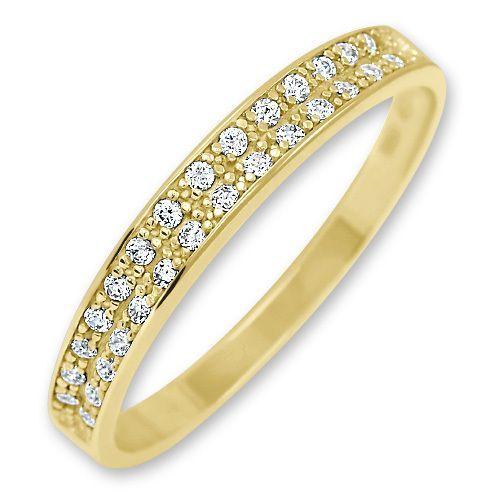 Brilio Dámský zlatý prsten s krystaly 229 001 00670 58 mm