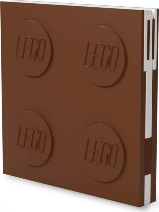 Hnědý čtvercový zápisník s gelovým perem LEGO®, 15,9 x 15,9 cm