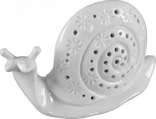 Bílá porcelánová dekorativní soška Mauro Ferretti Lumaca Porcellana, výška 10,5 cm