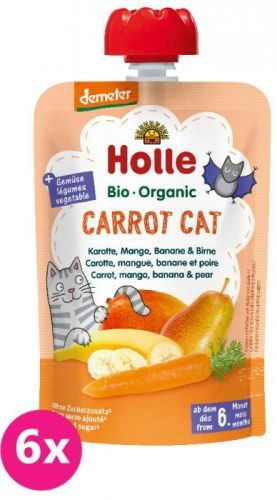 6x HOLLE Carrot Cat Bio pyré mrkev mango banán hruška 100g (6+)