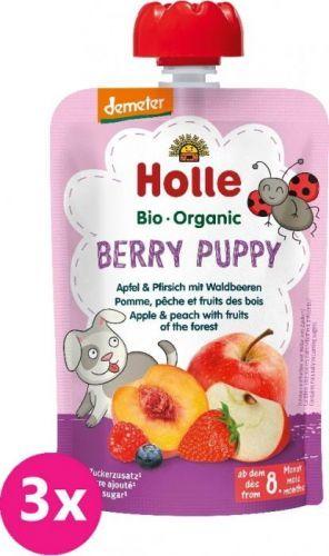 3x HOLLE Berry Puppy Bio ovocné pyré jablko, broskev a lesní plody, 100 g (6m+)