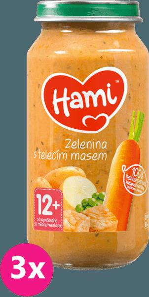 3x HAMI Roláda - zelenina a telecí maso (250 g) - maso-zeleninový příkrm