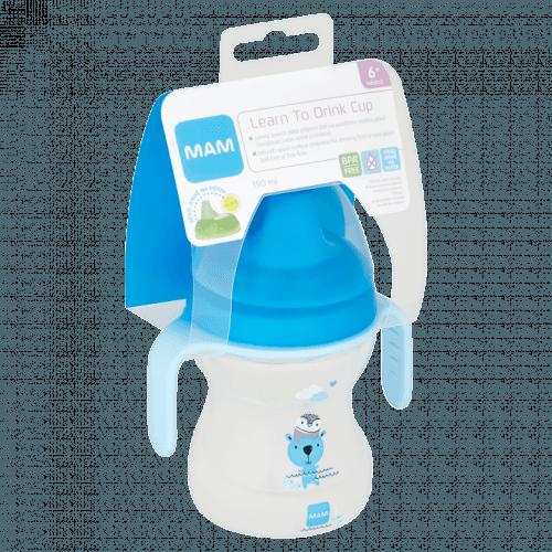 MAM Hrnek na učení Learn to drink cup Little Farm 190 ml, 6+ m modrý