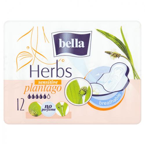 Bella Herbs Plantago Sensitive dámské hygienické vložky s křidélky 12 kusů