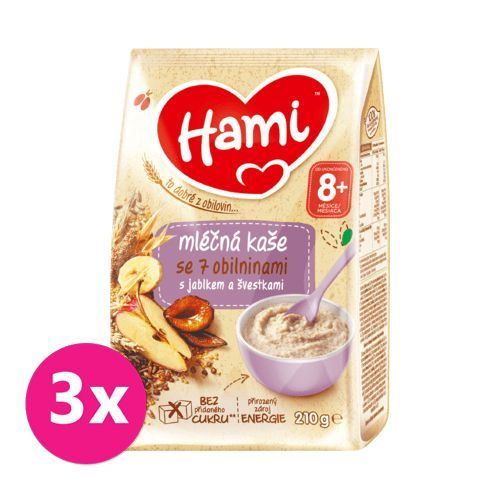3 x HAMI Mléčná kaše se 7 obilninami s jablkem a švestkami 210 g, 8+
