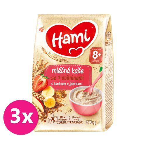 3 x HAMI Mléčná kaše se 7 obilninami s banánem a jahodami 210 g, 8+