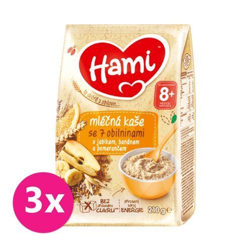 3 x HAMI Mléčná kaše se 7 obilninami s jablkem, banánem a pomerančem 210 g, 8+