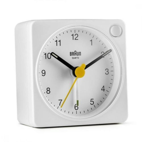 BRAUN BC02X Classic Analogue Travel Alarm Clock - White