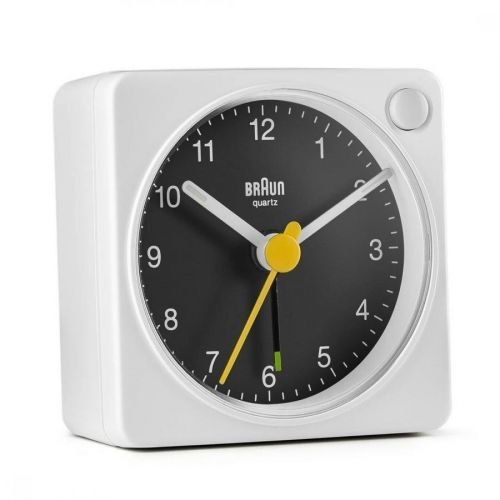 BRAUN BC02X Classic Analogue Travel Alarm Clock - White & Black