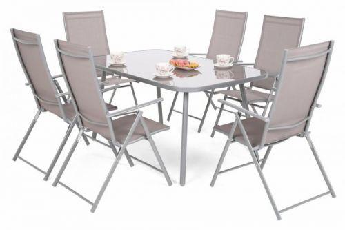 Záhradný jedálenský set 6+1 kov / textilen / sklo Stříbrná / taupe