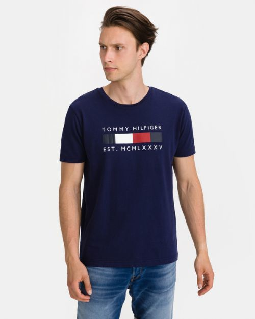 Tommy Hilfiger Logo Box Stripe Triko Modrá